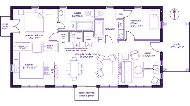this plan divides the main living space into activity zones and provides an intimacy gradient from the front door see open floor plan previous image - 2br Open Floor House Plans